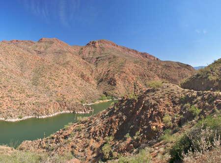 four peaks wilderness: Apache Lake in Sonoran Desert.