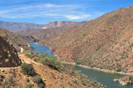 four peaks wilderness: Apache Trail winding next to Apache Lake.