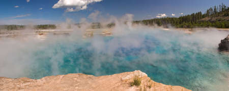 yellowstone: Sapphire Pool in Yellowstone National Park. Stock Photo