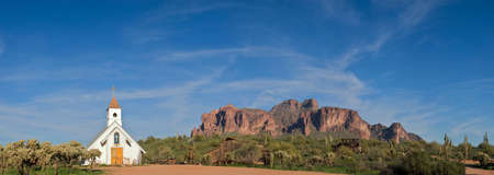 superstition: Old West Church in front of Superstition Mountains.