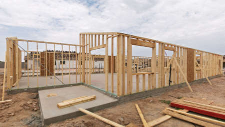 Construction of a house frame. Stock Photo