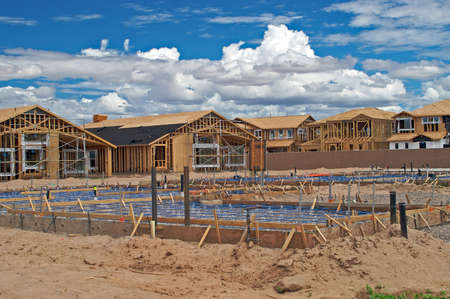 View of a foundation and house construction. Stock Photo