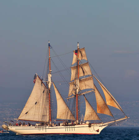 tall ship: Vintage Tall Ship on high see. Stock Photo
