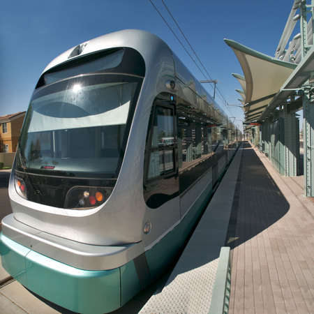 Light rail in a station. Editorial