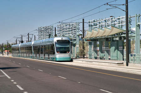 tramway: Tramway rolling into a station. Editorial