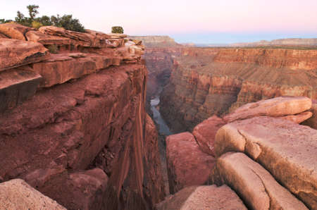 View of Colorado River in Grand Canyon from Toroweap Overlook at sunrise.  photo