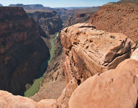 toroweap: View from Toroweap Overlook, 3000 feet (900m) above the Colorado River with Lava Falls Rapids in back.