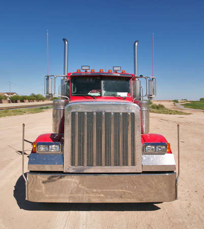 Front shot of a red truck.