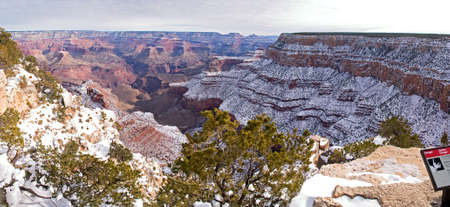 Grand Canyon in winter, with snow. photo