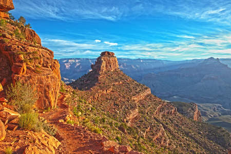 south kaibab trail: HDR shot of ONeill Butte in Grand Canyon Stock Photo