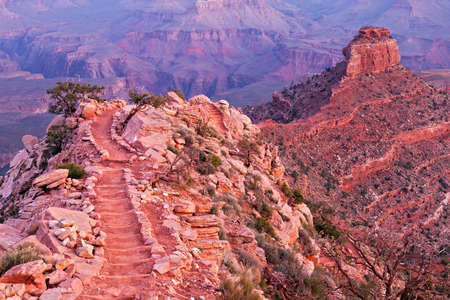 kaibab trail: South Kaibab Trail and ONeill Butte at sunrise. Stock Photo