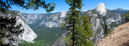 half dome: Yosemite Falls, and Valley with Half Dome on right.