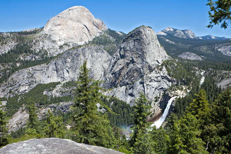 Back side of Half Dome, Liberty Cap and Nevada Fall in Yosemite National Park. Stock Photo - 10140256