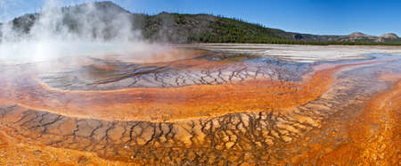 caldera: Grand Prismatic Spring in Yellowstone National Park. Stock Photo