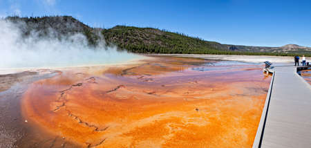 prismatic: Grand Prismatic Spring in Yellowstone National Park. Stock Photo