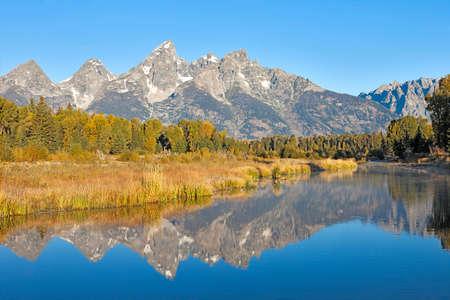 wyoming: Grand Teton reflection in Snake River. Stock Photo