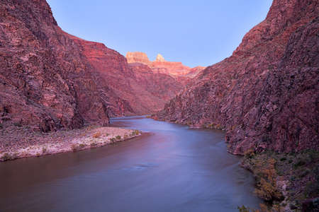 kaibab trail: Long exposure of Grand Canyon and Colorado River lit with twilight.