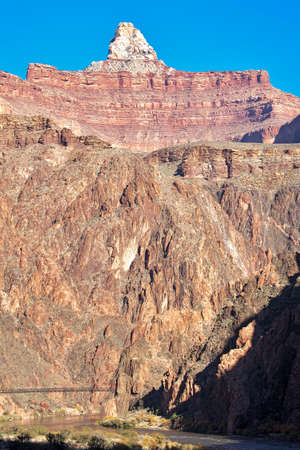 kaibab trail: Kaibab Bridge and Zoroaster Temple in Grand Canyon. HDR composition.