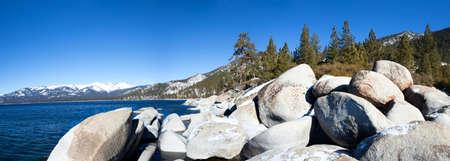 Boulders in Lake Tahoe in winter  photo