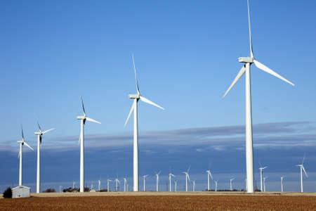 Rows of wind turbines in Kansas  Stock fotó