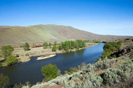 Train winding through Yakima Valley  photo