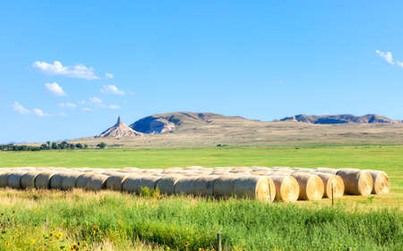 Field and Chimney Rock in Nebraska.