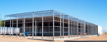 construction machinery: Frame of an warehouse under construction. Stock Photo