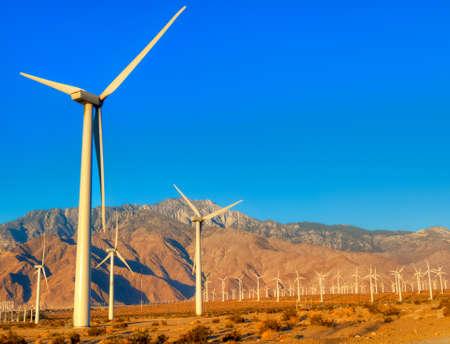 palm springs: Wind turbines near Palm Springs, at sunrise.