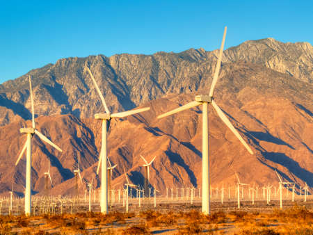 Wind turbines near Palm Springs, at sunrise. photo