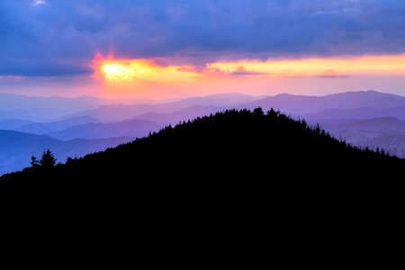 newfound gap: Great Smoky Mountains at sun set. Stock Photo