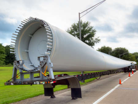 Transporting wind turbine propeller.