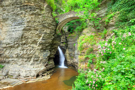 state park: Waterfall under Sentry Bridge in Watkins Glen.