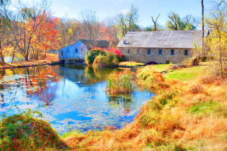 morris: Pond on Morris Canal, and historic mill. Stock Photo