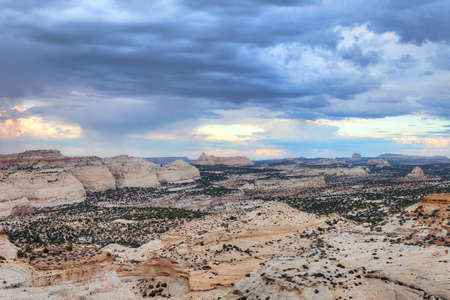 San Rafael Swell: Eagle Canyon under storm clouds at sunset