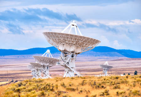 Radio antenna dishes of the Very Large Array radio telescope in New Mexico  photo