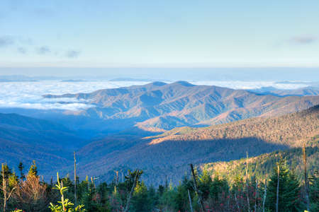 newfound gap: Great Smoky Mountains at sun rise, with clouds in valley.