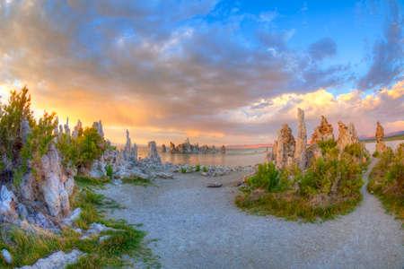 inyo national forest: Mono Lake at sunset. Stock Photo