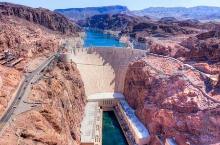 Hoover Dam on Arizona and Nevada border