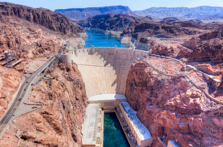 hoover dam: Hoover Dam on Arizona and Nevada border
