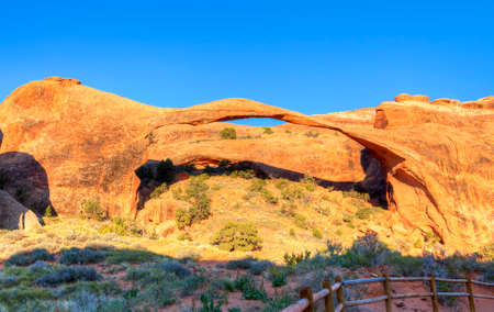 arches national park: Landscape Arch in Arches National Park. Stock Photo