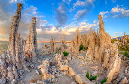 inyo national forest: Tufas and Mono Lake at sunset.