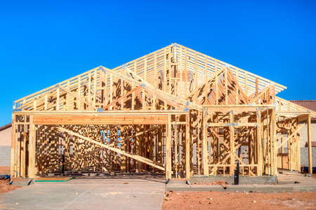 residential construction: Wooden frame of an residential house under construction