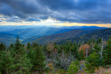 great smoky mountains national park: Autumn sunset from Clingmans Dome, Great Smoky Mountains National Park, Tennessee, USA Stock Photo