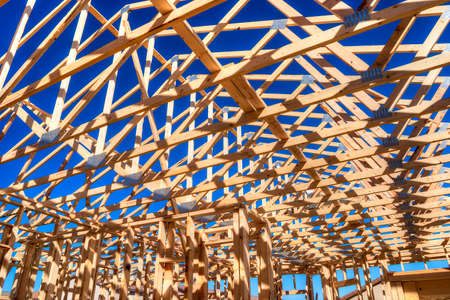 house under construction: Roof of an residential house under construction. Stock Photo