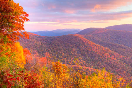 Sunrise in autumn at Shenandoah National Park. Stock Photo