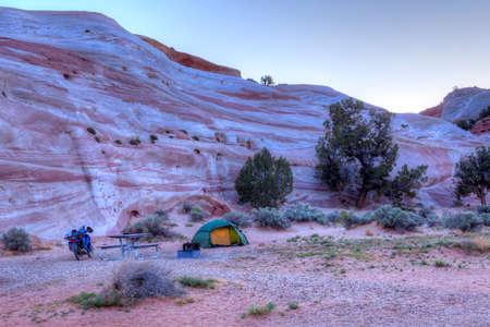 paria canyon: Camping in Paria Canyon at dawn.