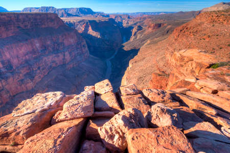 toroweap: Sunrise at Toroweap Point, in Grand Canyon National Park, with Colorado River three quaters of a mile below.