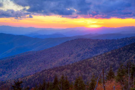 great smokies: Autumn sunset over the Great Smoky Mountains National Park, Tennessee, USA Stock Photo