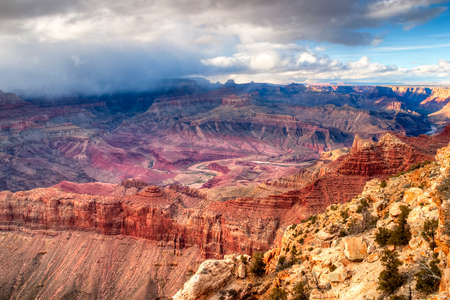 plateau point: Thunder storm leaving Grand Canyon.