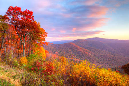 Sunrise in autumn at Shenandoah National Park. 免版税图像